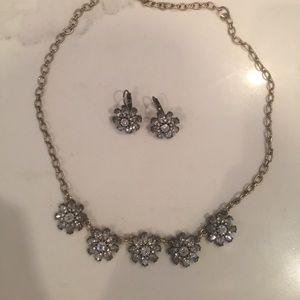 C+I Bridal Crystal Flower Necklace earring set